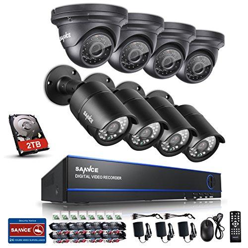 SANNCE KIT AHD DVR 8 Canali 1080P Video Sorveglianza Videoregistratore IR Telecamere di Sicurezza Impermeabile IP66 Sistema di CCTV Kit di Sorveglianza 8 Bullet Camera 3,6MM con 2T HDD