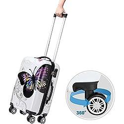 Monzana® Reisekoffer Hartschalenkoffer Butterfly Hartschale Trolley Koffer ✔ABS-Kunststoff ✔PC beschichtet ✔Alu Teleskopgriff ✔gummierte Zwillingsrollen ✔Größe XL