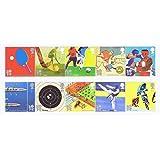 Olímpicos y Paralímpicos sellos–10de primera clase de Royal Mail sellos de menta. 2010Juegos Olímpicos y Paralímpicos sellos con los deportes incluyendo remo, ciclismo, fútbol etc