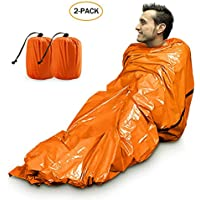 Zmoon Emergency Sleeping Bag, Lightweight Emergency Bivvy Survival Sleeping Bag for Outdoor Camping and Hiking, Orange - 2 Pack