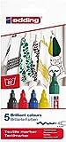 edding 4500 Textil-Marker - 5er Set - Standard Farben - Rundspitze 2-3 mm - Zum Bemalen von Textilien (wie z.B. T-Shirt, Kissen, Beutel) - Textilfarbe waschmaschinenfest bis 60°C