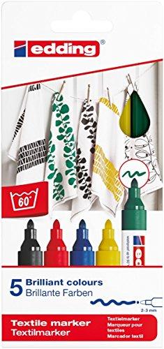 edding 4500 Textil-Marker - 5er Set - Standard Farben - Rundspitze 2-3 mm - Zum Bemalen von Textilien (wie z.B. T-Shirt, Kissen, Beutel) - Textilfarbe waschmachinenfest bis 60°C