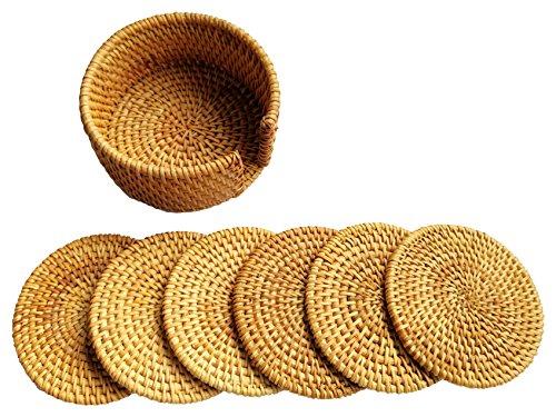 Actopus 610cm/10,2cm Dia. Rattan Untersetzer Dish Tischsets mit Halter für Topf Kaffee Wein Flasche Rattan-halter