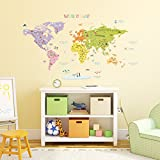 Decowall DMT-1306N Colourful World Map Kids Wall Stickers Wall Decals Peel and Stick Removable Wall Stickers for Kids Nursery Bedroom Living Room (Large)