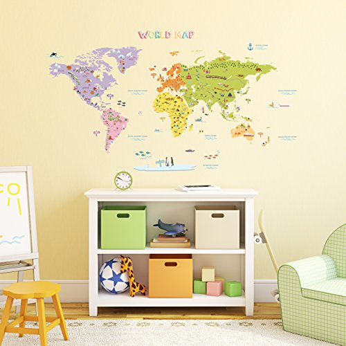 Decowall-DMT-1306-Mapamundi-de-Color-Vinilo-Pegatinas-Decorativas-Adhesiva-Pared-Dormitorio-Saln-Guardera-Habitacin-Infantiles-Nios-Bebs-Grande