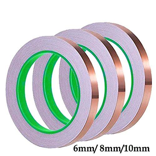 Cintas de lámina de cobre, adhesivo conductor de doble cara para emieling, vidrio tintado, manualidades, repelente de golpes, reparaciones eléctricas, soldadura, circuitos de papel