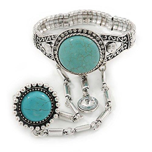 Piedra turquesa redonda de inspiración Vintage con anillo de Aquiles