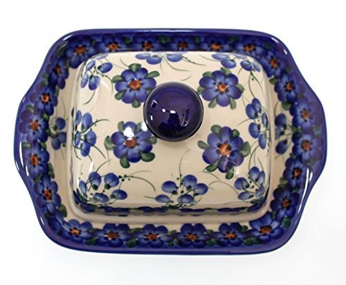 Classic Boleslawiec Pottery Hand Painted Stoneware Butter Dish with lid 067-U-001