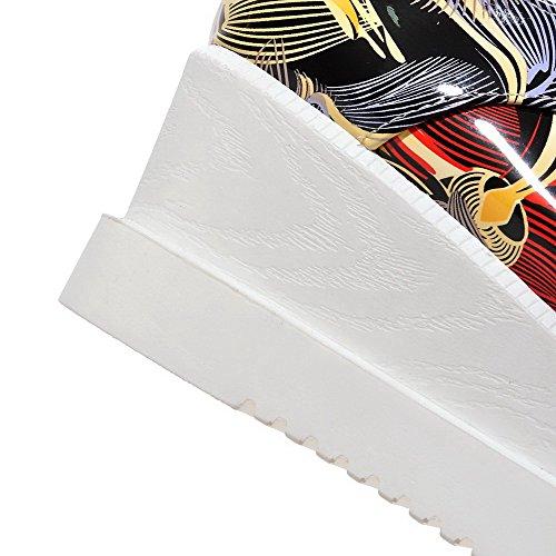 AllhqFashion Damen Schnüren Quadratisch Zehe Mittler Absatz Gemischte Farbe Pumps Schuhe Rot
