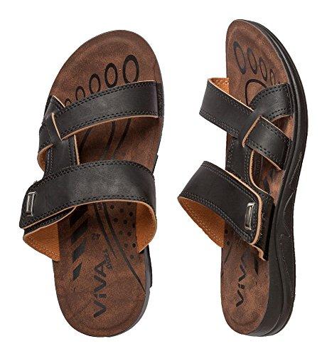 Herren Sandale mit Klettverschluß in 3 Farben und 6 Größen Schwarz