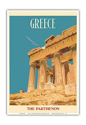 Griechenland - Der Parthenon - Athena Tempel - Vintage Retro Welt Reise Plakat Poster von Dick Negus & Philip Sharland c.1954 - Kunstdruck - 33cm x 48cm