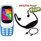 I KALL K35 Light Blue Dual Sim Basic Feature Mobile Phone With MP3/FM Player Neckband