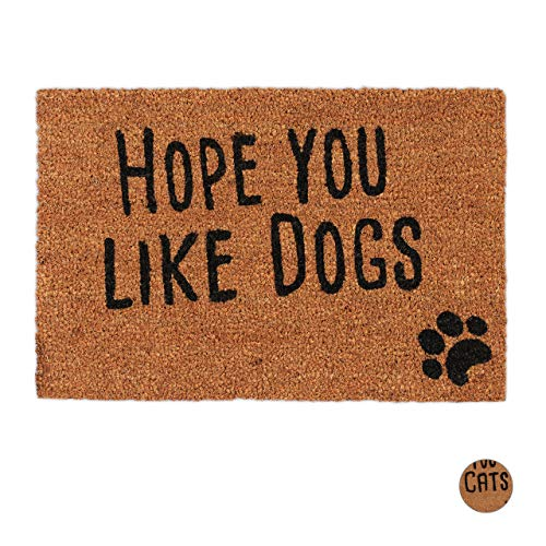 Relaxdays Felpudo Exterior Antideslizante Hope You Like Dogs, Fibra de Coco-PVC, Negro, 40 X 60 Cm