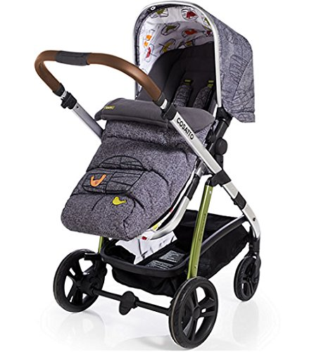 Cosatto Wow 3 in 1 isize Travel System Dawn Chorus with Dock car seat Bag footmuff & Raincover Cosatto Includes: Chassis,Carrycot,Seat unit,Dock isize Car seat,Car seat adapters,Footmuff,Change bag, Raincover & 4 Year guarantee(UK and Ireland only) Compact fold Telescopic, leatherette handle and Handy one-handed recline. One-hand release carrycot, One-hand adjustable leg rest and Super-sized basket with handy compartments 6