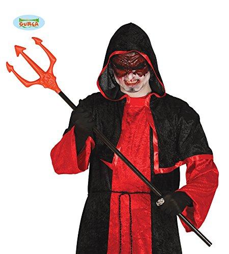 Guirca Dreizack für Halloween Party Zubehör Teufel Kostüm Rot Schwarz 105 cm