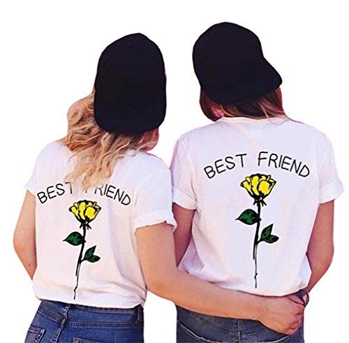 61a6c1f808c6e5 Lueyifs Best Friends Damen Rose T-Shirt Oberteil Mädchen Sommer Freund Shirt  Kurzarm Tops