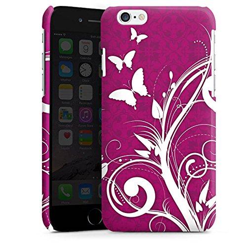 Apple iPhone 4 Housse Étui Silicone Coque Protection Rose vif Papillons Fleurs Cas Premium brillant