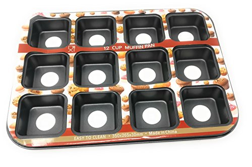 Haneez® Silicon Muffin Tray – 12 Moulds / Cups – Tray Size (35, 26)cms Mould Size 7 cms Non-Stick – Baking Pans – Ideal for Cupcakes, Muffins and Mini Cakes
