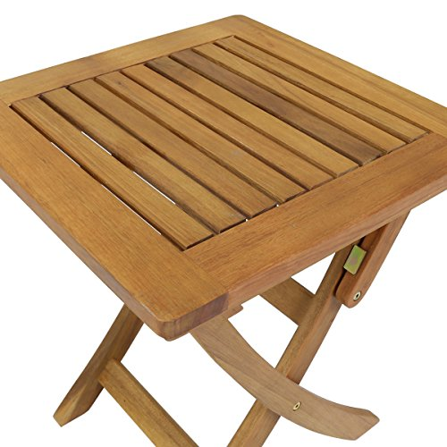 Charles Bentley Small Square Foldable Side Table FSC Certified Hardwood Garden Patio Furniture