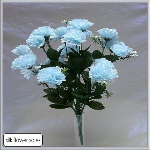 18 head baby blue carnation artificial silk bush wedding/grave/vase