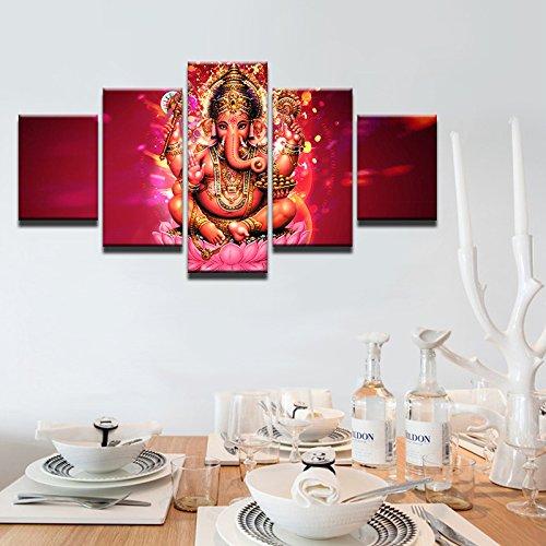 HOMOPK 5 Stücke Malerei Modulare Tapete HD Druck Auf Leinwand Wandkunst Wasserdicht Poster Bad Wohnzimmer Wohnkultur Bild Indien tibetische Ganesha B,Rahmen