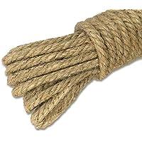 Cuerda gruesa y resistente de yute natural de 20 metros, 3 capas, cuerda perfecta para artesanía y decoración, 4 mm de grosor