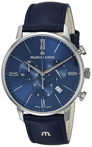 Maurice Lacroix Mens Analog Quartz Watch with Leather Calfskin Strap EL1098-SS001-410-1