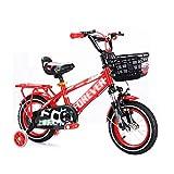 FINLR Kinder Fahrrad Junge Mädchen Baby Kinderfahrräder Kind Pedal Fahrrad 3 Farben 12/14/16/18 Zoll Stoßdämpfungsfunktion Mit Stabilisatoren Und Rücksitz (Color : Red, Size : 16 inches)