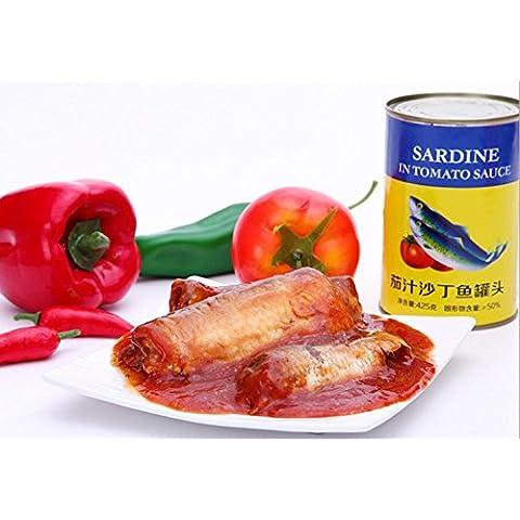 sardine in scatola in salsa di pomodoro 12 lattine totale peso netto 5100 grammi (barattoli 425gX12), frutti di mare dal Mar Cinese Meridionale Nanhai