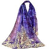 ODJOY-FAN donne chiffon pendenza fiore stampa sciarpa- scialli- a spina sciarpa-sciarpa morbida plaid coperta square -donna simulazione seta scialle moda elegante cerimonia grande sciarpa