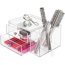 InterDesign Drawers Caja con compartimentos | Caja de maquillaje con 2 cajones y bandeja superior |