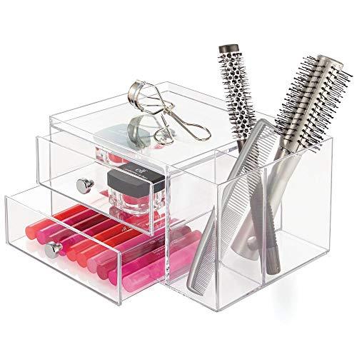 InterDesign Drawers Caja con compartimentos   Caja de maquillaje con 2 cajones y bandeja superior   Organizador de maquillaje o artículos de oficina   Plástico transparente
