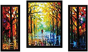 """SAF""""Watercolor Modern Art"""" Painting (Synthetic, 13.5 inch x 22 inch, Set of 3)"""