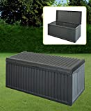 BLACK PLASTIC GARDEN STORAGE BOX LID PATIO SHED UTILITY CUSHION CHEST 747519 Best Review Guide
