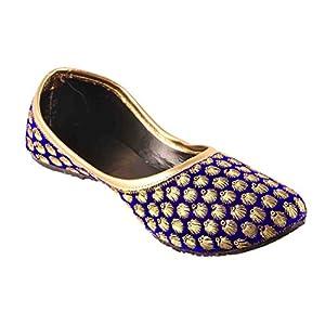 Femme Royale Velvet Women's Rajasthani Jaipuri Mojari Juti Golden Makhi Design