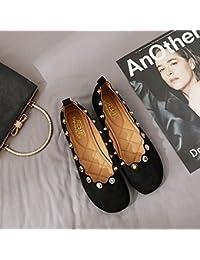 Xue Qiqi Cabeza Redonda Calzado Plano Grandma Zapatos Zapatos Planos con Reborde de luz con una Sola Hembra de...