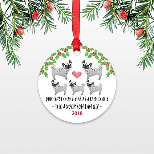 C-US-lmf379581 Mops Hund First Christmas Baby Ornament Personalisierte Familie Weihnachten Ornamente Familie 5 5 niedliche Neugeborene Familie -