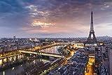azutura Eiffelturm Sonnenuntergang Fototapete Stadt Skyline Paris Tapete Frankreich Dekor Erhältlich in 8 Größen Extraklein Digital