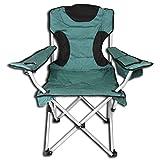 Campingstuhl XL mit Getränkehalter und Kühltasche - Anglerstuhl Faltstuhl Angelstuhl Klappstuhl grün/schwarz