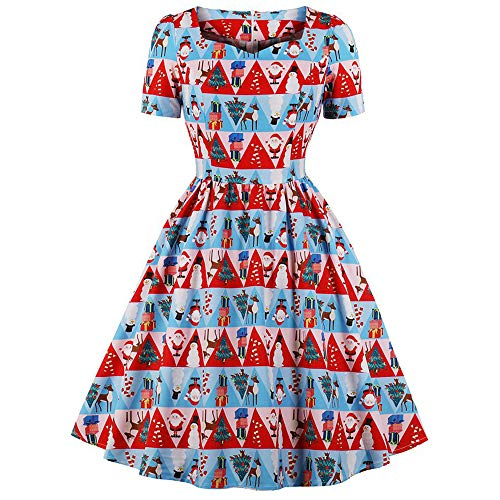 Amphia - Weihnachten Weihnachten Elemente Bedruckt zurück Reißverschluss Princess Dress Vintage Rock Urlaub Kleid,Frauen V-Ausschnitt Vintage Christmas Print Princess Dress(Blau,L)
