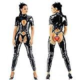 Mirlun Noir Sexy Latex Catsuit Costumes de lingerie Vêtements de club pour femmes