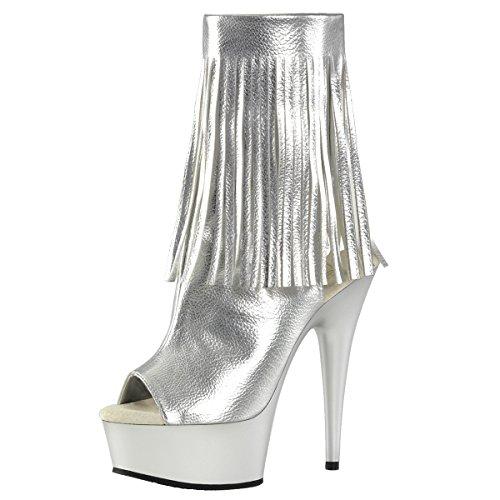 Peep Toe Stiefelette, Damen, Silber (silber) Silber (Silber)