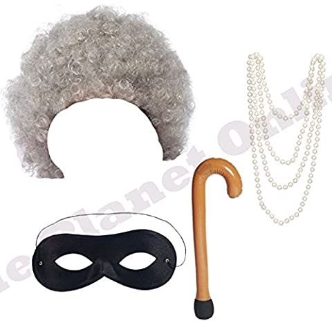Grey Granny Wig, Pearl Necklace, Walking Stick & Black Eye Mask Fancy Dress Costume Accessory