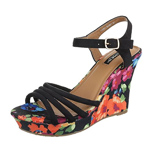 Ital-Design , chaussures compensées femme Schwarz T82001