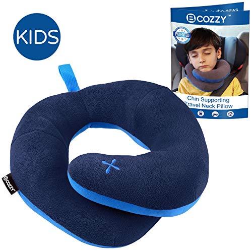 Bcozzy cuscino da viaggio con supporto per il mento per bambini. impedisce alla testa di oscillare su e giù nei viaggi in auto. sostiene la testa, il collo e il mento. taglia per bambino, marino