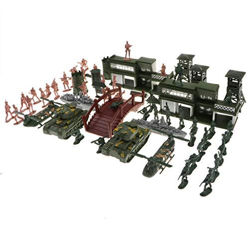 FLAMEER 130-tlg Bausteine Militär Kunststoff Soldaten Armee Spielzeug Modell Figuren Dekor Spielzeug Set für Kinder (Kunststoff-militärs)