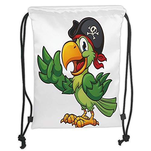 nted Drawstring Sack Backpacks Bags,Pirate,Cartoon Parrot with Pirate Hat Eye Patch Waving Hand Gesture Cute Funny Character Decorative,ri ()
