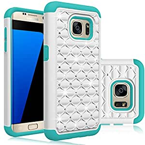 Galaxy S7 Edge Case, EC™ Hybrid Dual Layer Diamond Studded Bling Crystal Rhinestone Protective Case Cover for Samsung Galaxy S7 Edge (White+Turquoise)