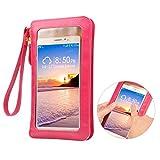 Asnlove 2 in 1 PU Leder Wallet Lang Handytasche Schultertasche Leder Mobile Bag Protective Case mit Straps für iPhone Galaxy Huawei Smartphone unter 6.4 Zoll, Blau