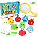 LOORI Baby Bath Toys,11 PCS Baby Shower Toys With 4 Fish,2 Fishing Rod,Crab,Frog,Snail,Fishing Net,Bird Perfect Christmas Birthday Gift For Baby & Kids